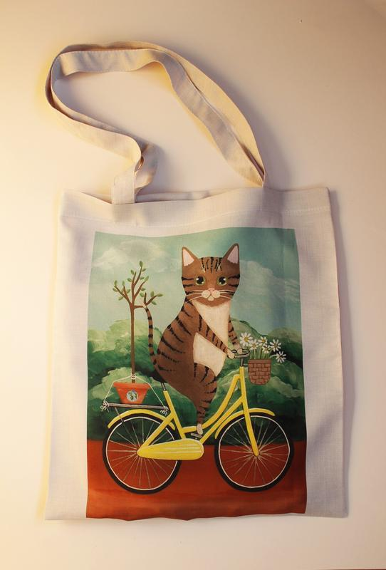 Экосумка кот киев, экоссумка  кот на велосипеде одесса, шоппер мопс днепр, екосумка кіт львів