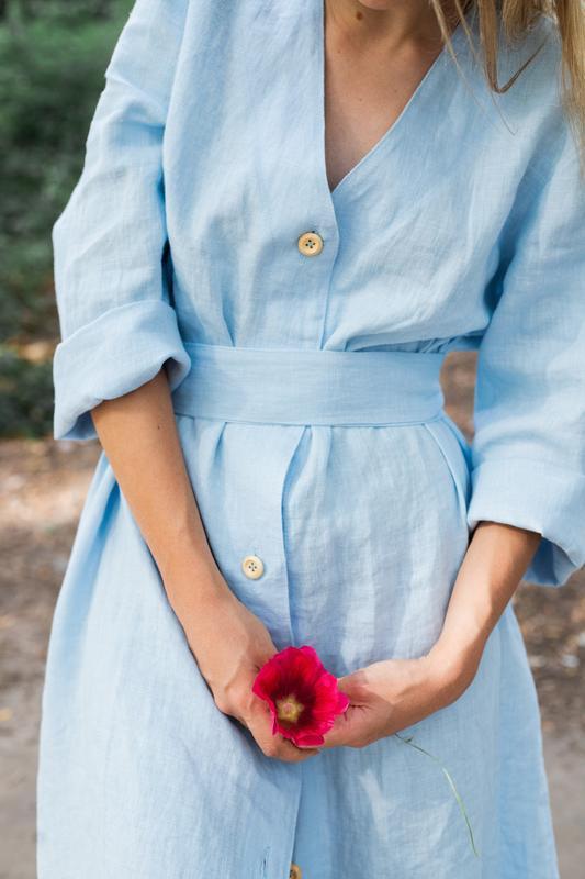 Свободное платье с поясом, льняное платье, сукня з льону, широк сукня, сукня для вагітних