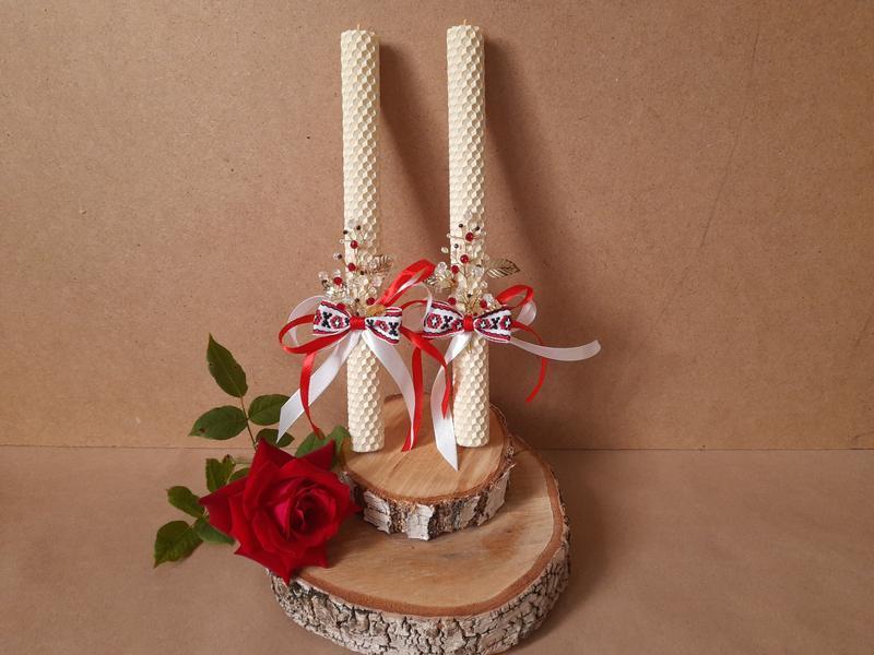 Набор Венчальных свеч, венчальные свечи с вышивкой