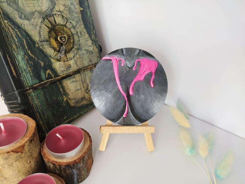 Картина девушка абстракция, эротическая картина миниатюра, декор для спальни