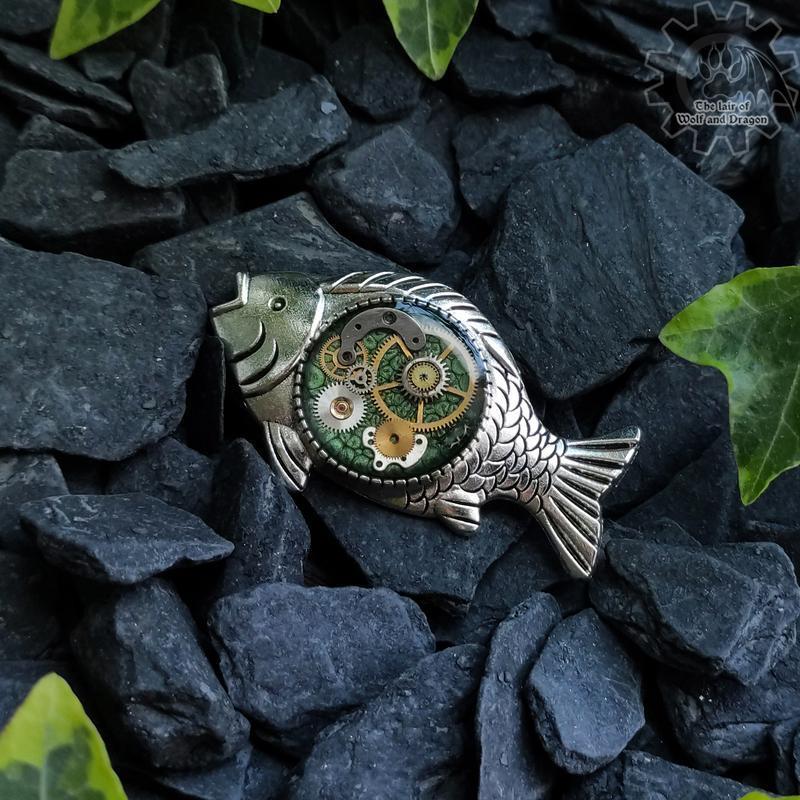 Брошка значок рыбка в стиле steampunk ( в наличии 1шт.) №671684 - купить в Украине на Crafta.ua