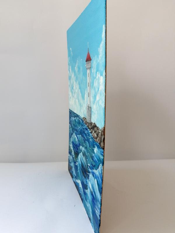 Картина маслом маяк в море, Маяк в море, Красивое море, Волны на море, Картина на подарок