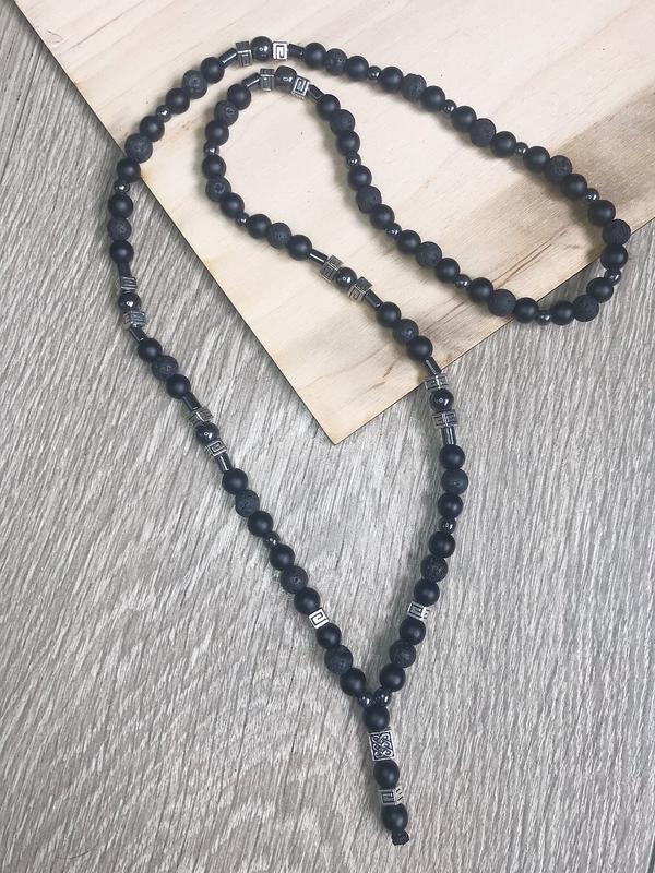 Мужское ожерелье: шунгит,лава,гематит