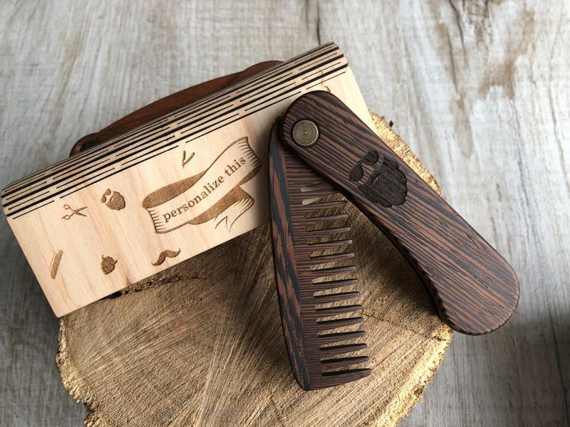 Деревянный гребень для бороды из натального экзотического дерева венге