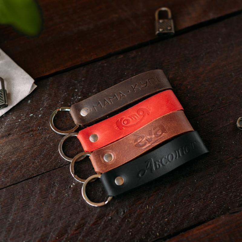 Кожаный брелок, брелоки, подвески, логотип, именной подарок, тиснение