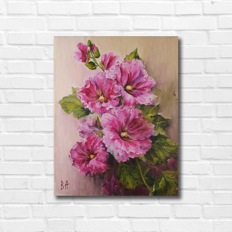 """Картина маслом """"Розовые цветы"""" 45х35 см, холст на подрамнике, масло"""