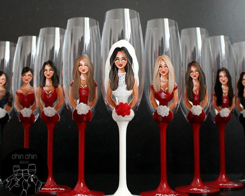 Свадебные бокалы персонализированные с ручной росписью, бокалы для подружек невесты