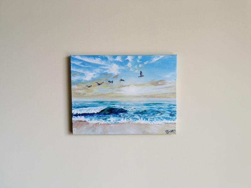 Картина маслом море и чайки, Морской пейзаж, Картина с морем, Картина с чайками, Интерьерная картина
