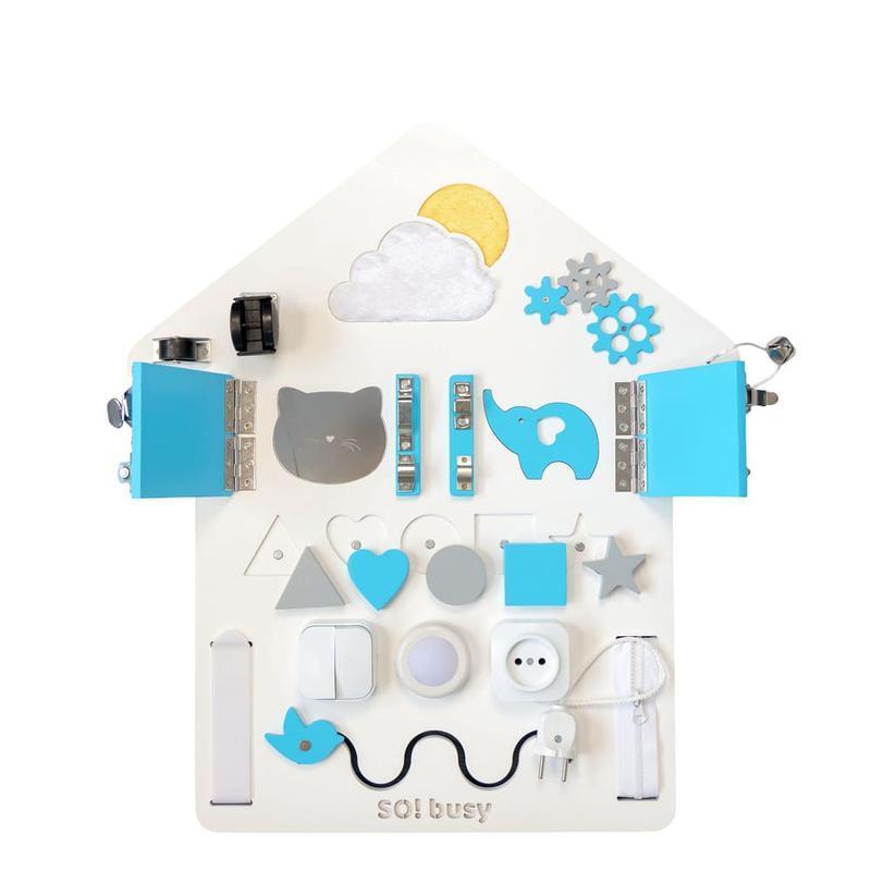 Бизиборд для мальчика Домик синий с подсветкой