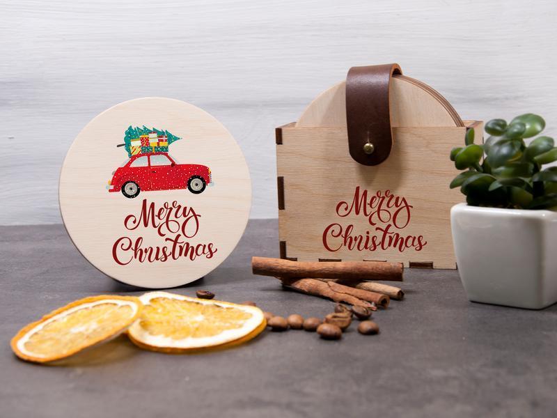 Рождественский набор подставок с надписью Merry Christmas под горячее 6 шт