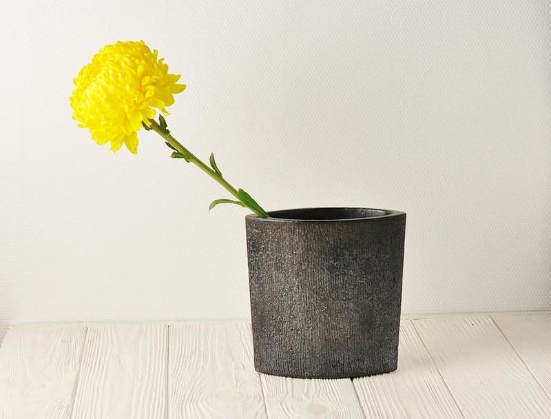 Набор из 4 современных белых и черных керамических ваз ручной работы, Высота: 16 см, арт.№62