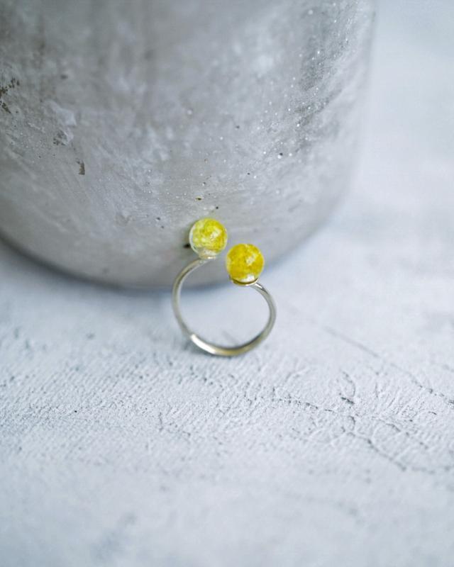 Серебрянное кольцо с живыми цветами цмина, Желтое кольцо, серебро 925 пробы, подарок для девушки