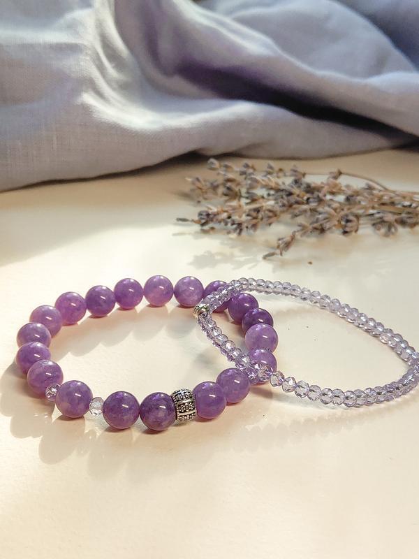 Набор браслетов из натуральных камней, браслет из кварца, горного хрусталя, набор браслетов
