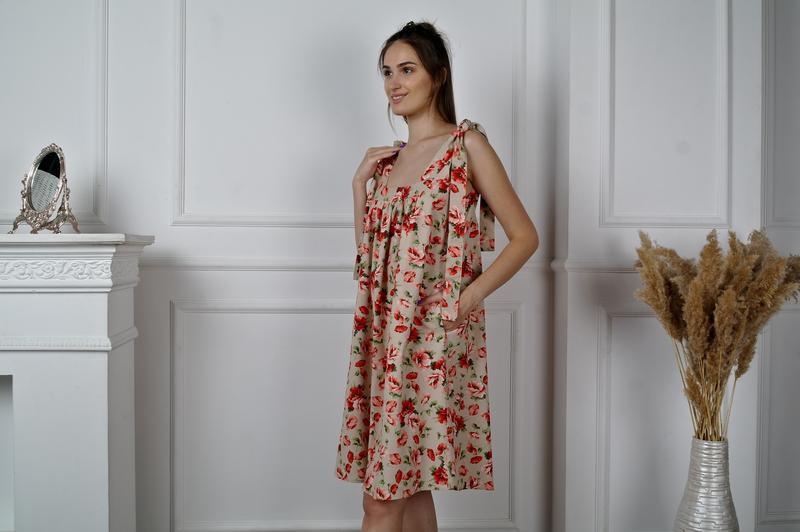 """Легкое летнее льняное платье-сарафан с цветочным принтом """"маки"""""""