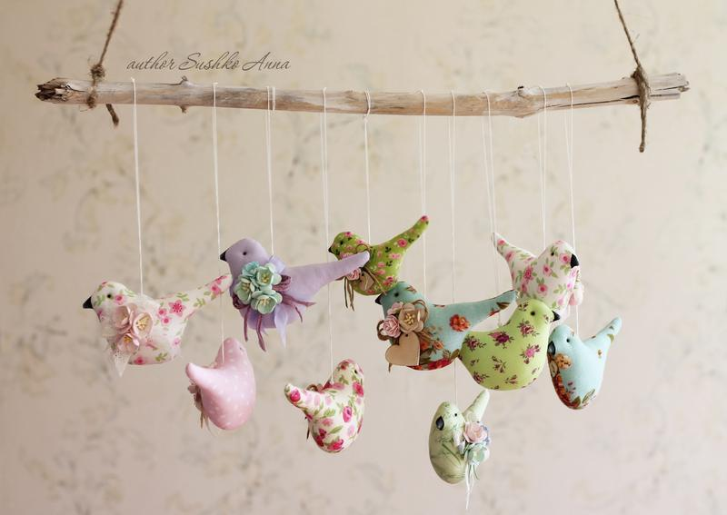 Розовая птичка, текстильная