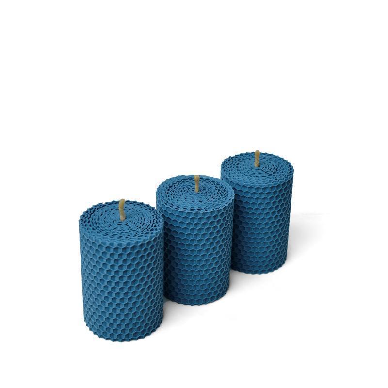 Набор из трех ЕКО свечей 8.5*6 см синего цвета, в подарочной упаковке