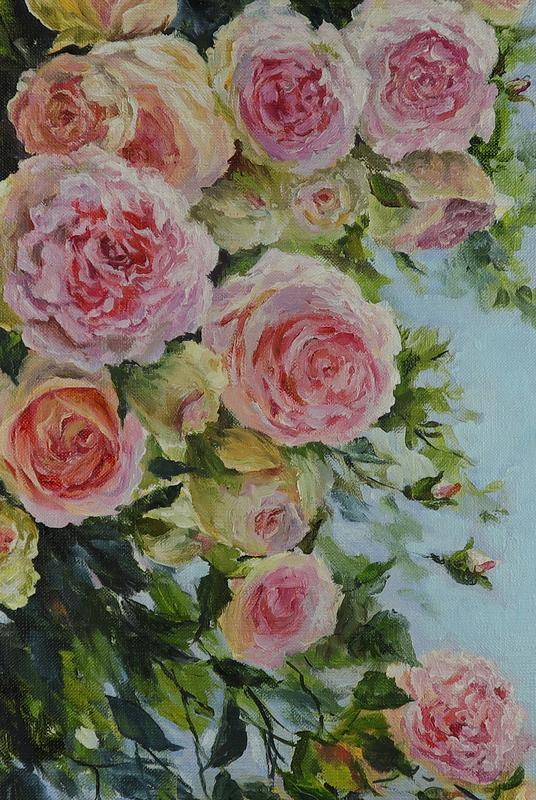 "Картина маслом ""Аромат розы"" 60х40 см, холст на подрамнике, масло"