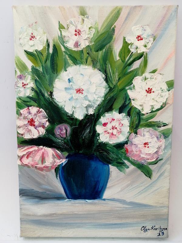 Картина маслом белые пионы, Картина с белыми пионами, Авторская живопись, Интерьерная картина