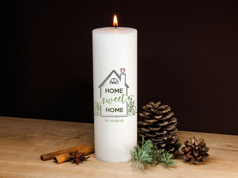 Большие свечи для интерьера с рисунком Home sweet home, декоративные свечи