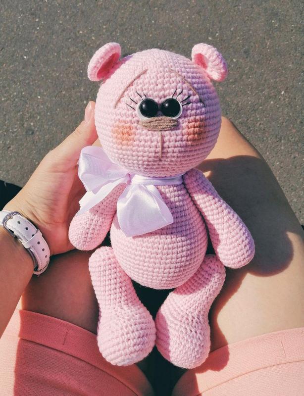 Вязаный мишка игрушка для девочки, розовый мишка