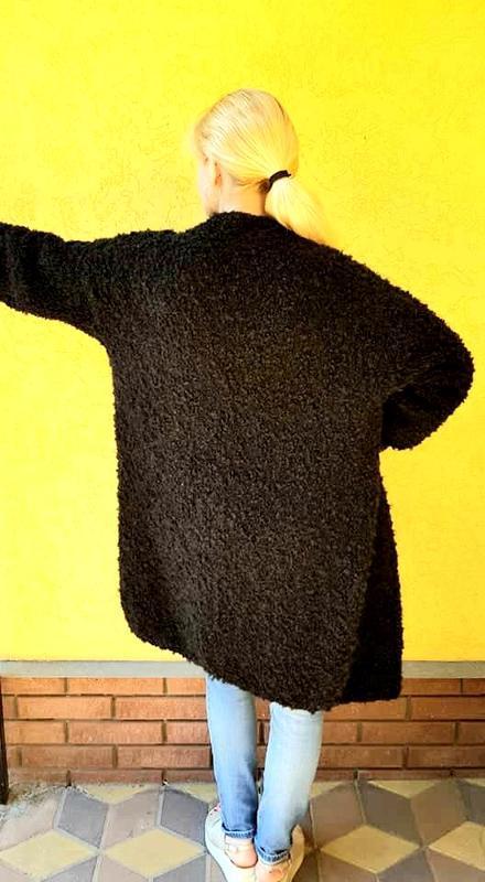 Кардиган женский Длинный чёрный вязаный кардиган