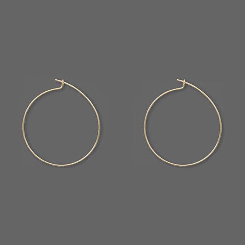 Кольца позолоченные для изготовления сережек, 25 мм
