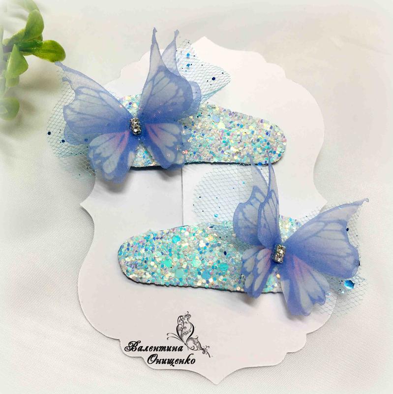 Шифонові метелики на заколочках клік-клак