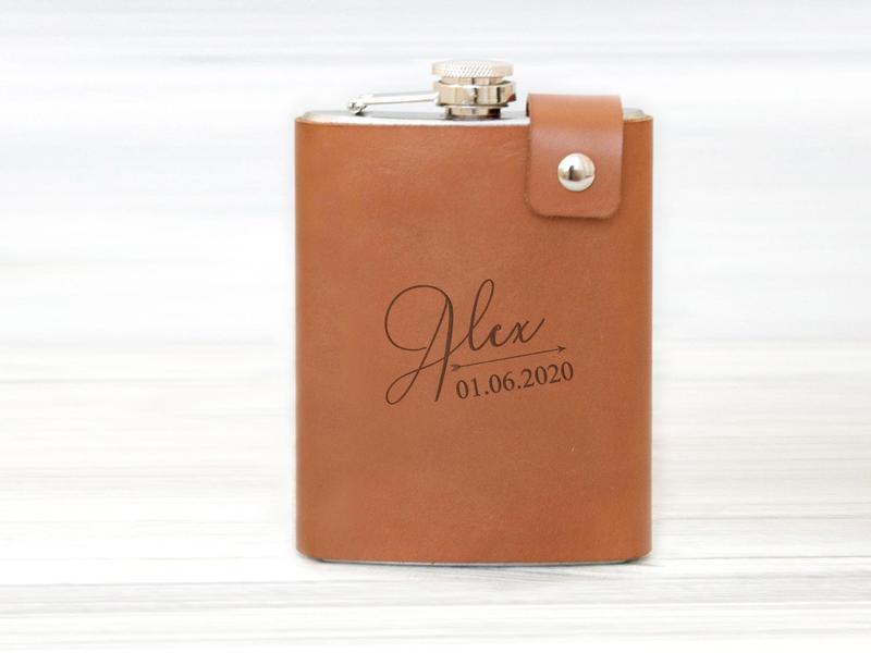 Именная кожаная фляга с гравировкой, подарок другу, нержавеющая сталь 240 мл, Brown