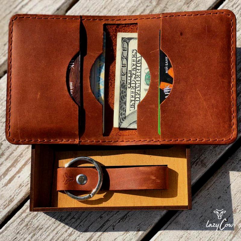 Мужской мини кошелек из кожи Crazy Horse цвет коньяк