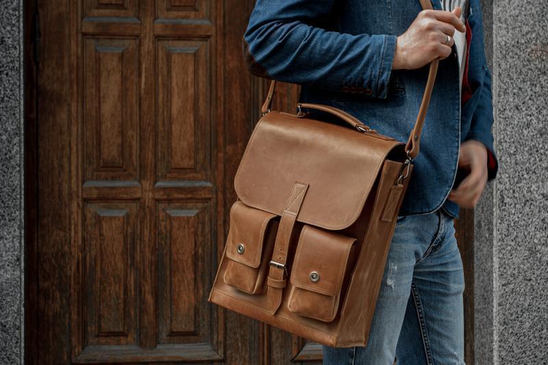Мужская сумка на плечо, кожаная сумка для ноутбука
