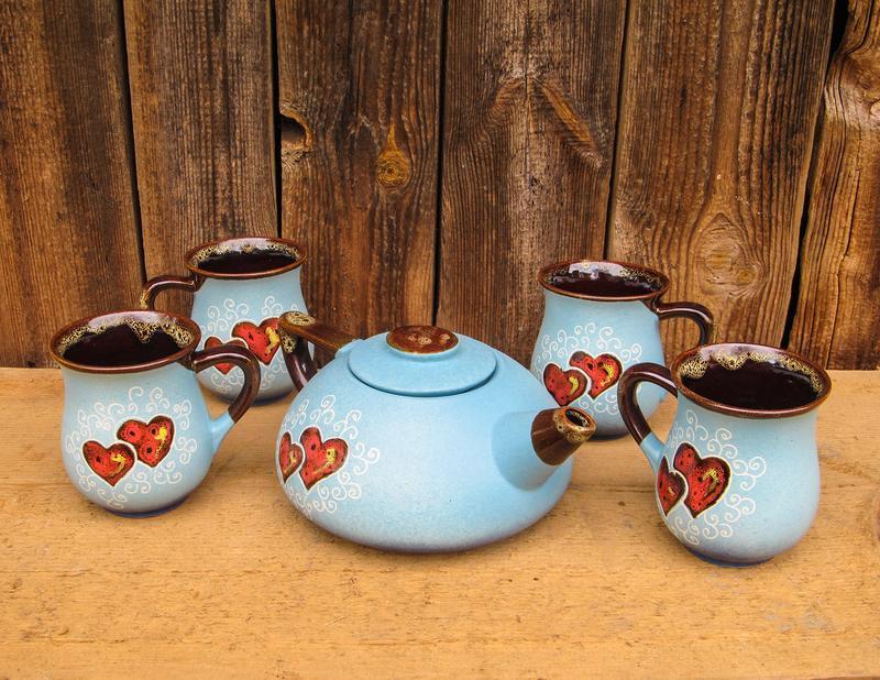 """Чайный набор, декор """"Сердце"""" голубой"""