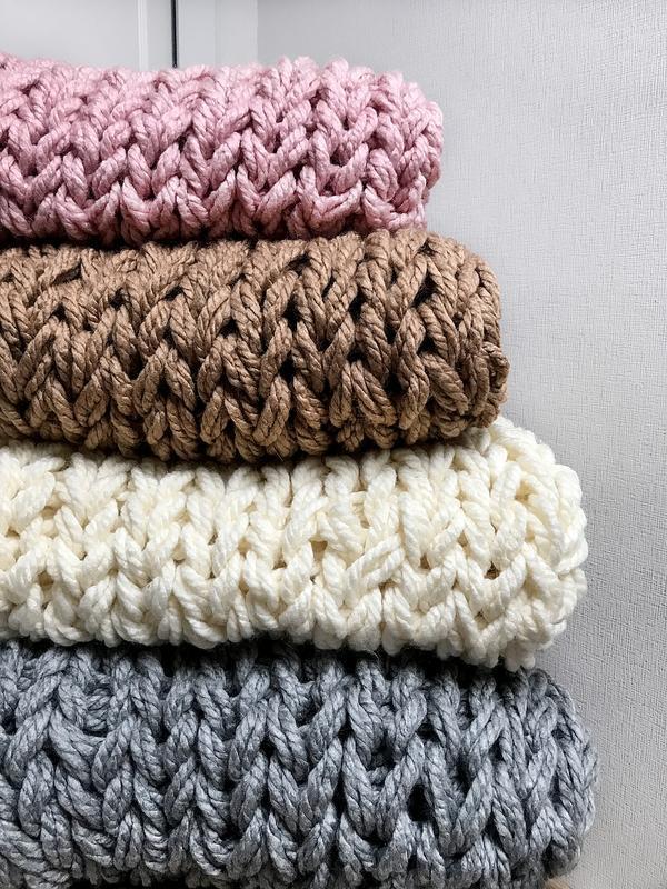 Набор для вязания пледа СДЕЛАЙ САМ (МК+материалы) Размер S - 90*130 см