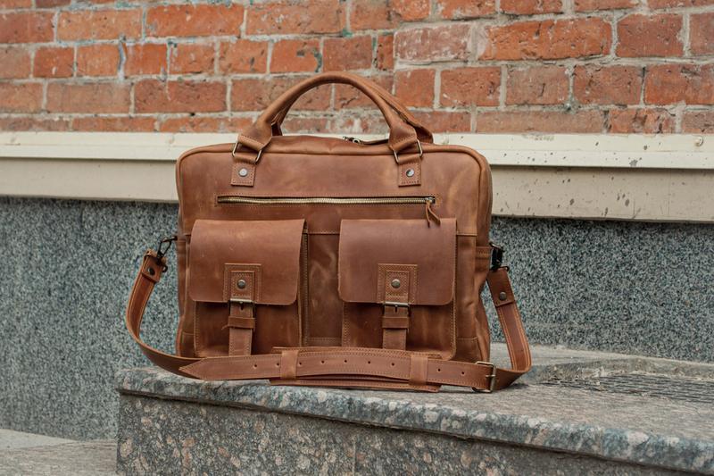 Мужская деловая сумка. Деловой кожаный портфель для бумаг и ноутбука