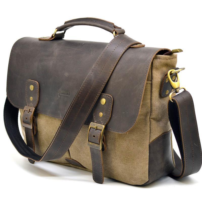 Мужская сумка-портфель микс ткани канвас и кожи RSc-3960-3md TARWA