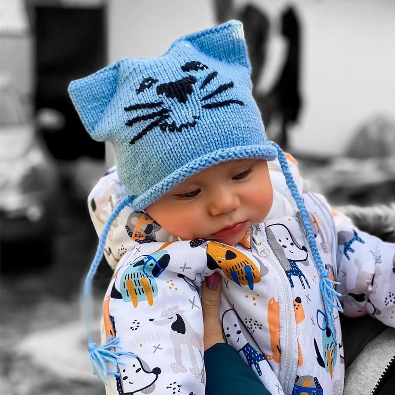 """Детская шапочка с ушками """"Котик"""" и на завязках"""