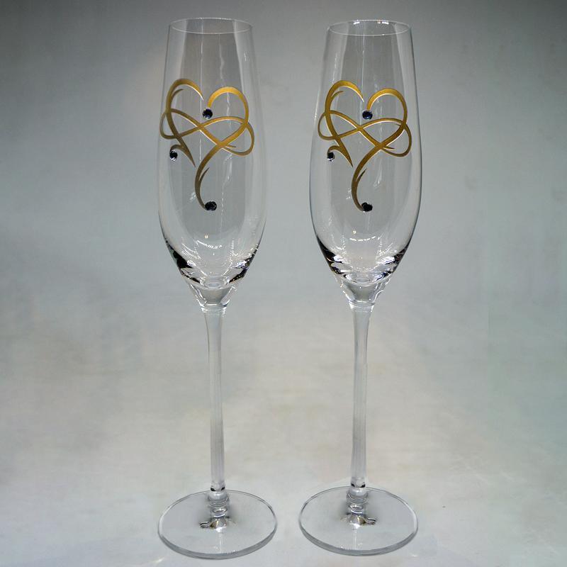 Бокалы для шампанского с позолоченными сердцами (арт. S21)