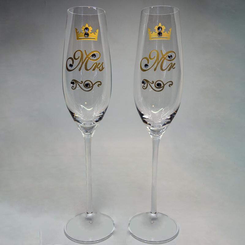 Бокалы для шампанского с позолотой MR MRS (арт. S22)