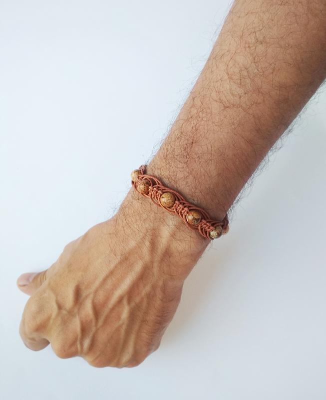 """Мужской кожаный браслет с бусинами """"BrStone"""""""