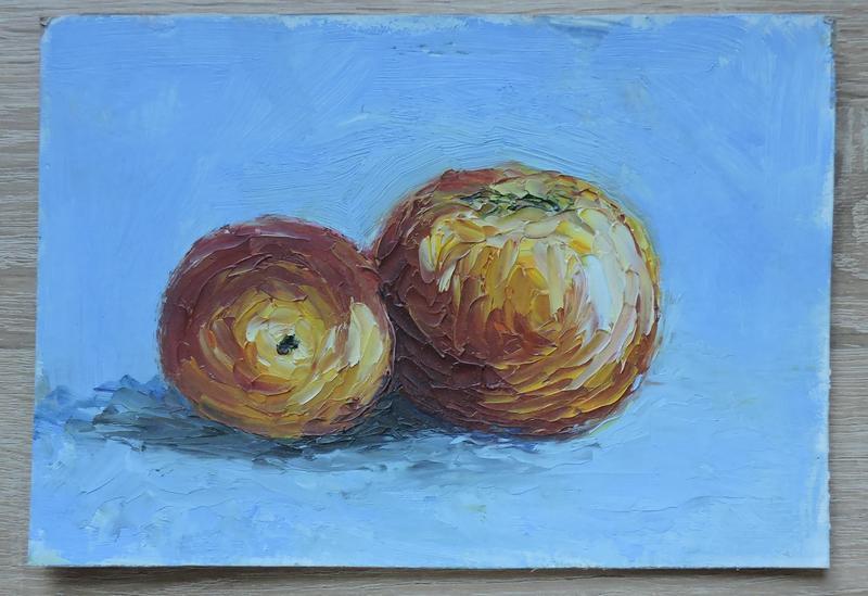 """Маленькая картина маслом """"Яблоки"""" натюрморт"""