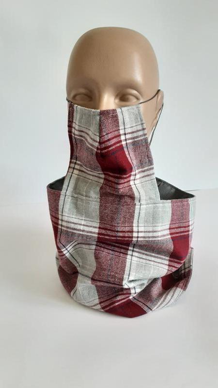 Снуд шарф двухсторонний с  масками, серый и серый с бордовый клеткой