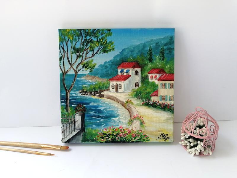Картина маслом Италия, Городской пейзаж, Красивый пейзаж, Картина на подарок