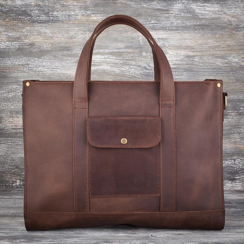 228060d7959c Большая женская коричневая кожаная сумка ручной работы купить в ...