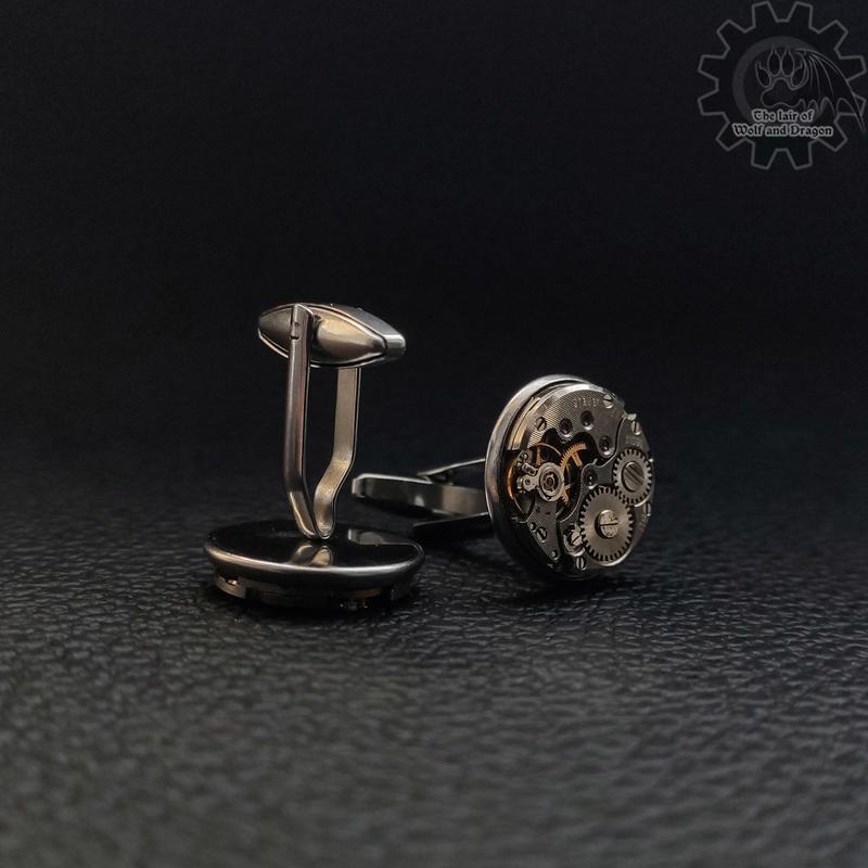 Мужские запонки в строгом стиле steampunk минимализм с часовыми механизмами (1 пара в наличии)