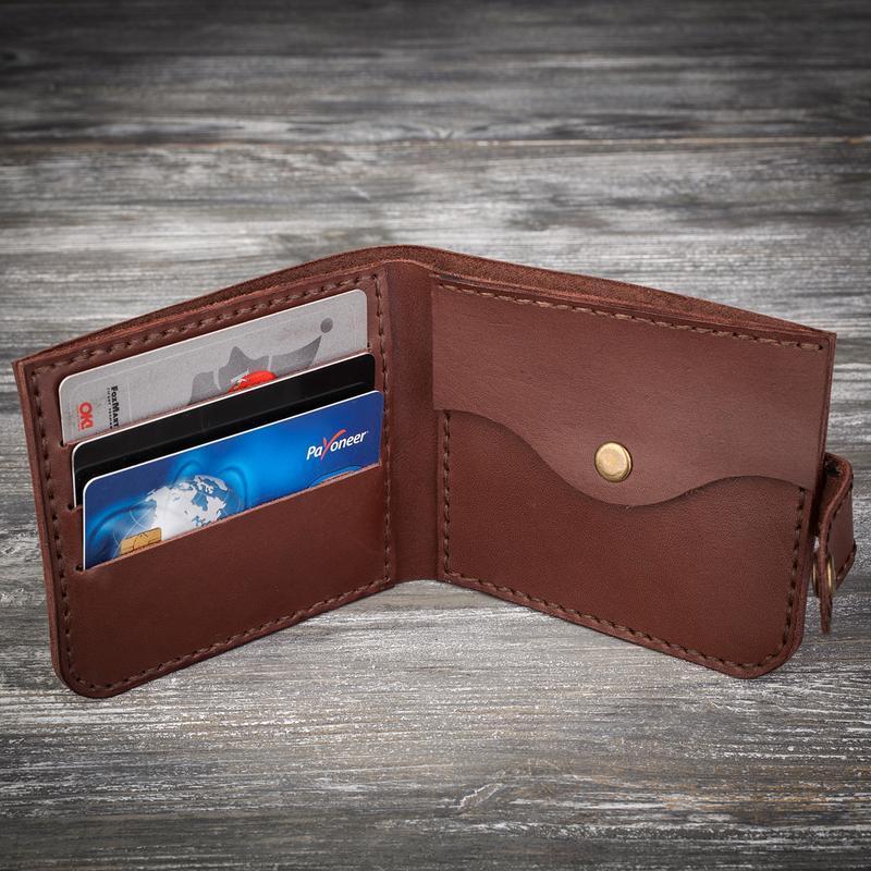 Чоловічий шкіряний коричневий гаманець маленький