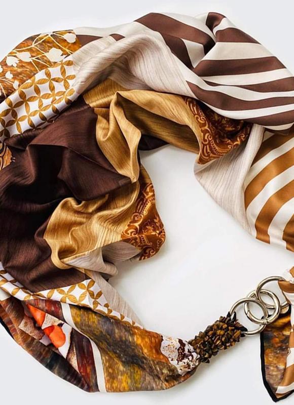 """Шелковый платок """"Мокко с карамелью"""" от бренда my scarf, шейный платок, подарок женщине"""