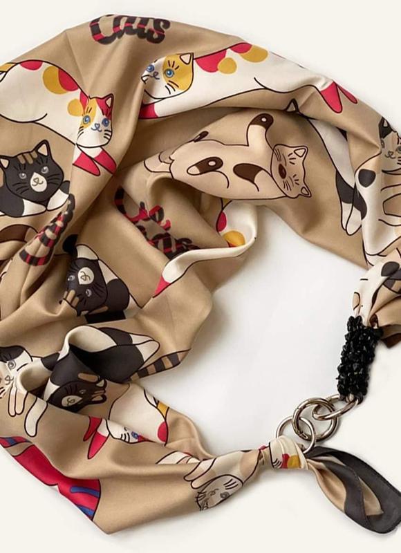 """Дизайнерський хустку """"Котики"""" від бренду my scarf, шийну хустку, подарунок жінці"""