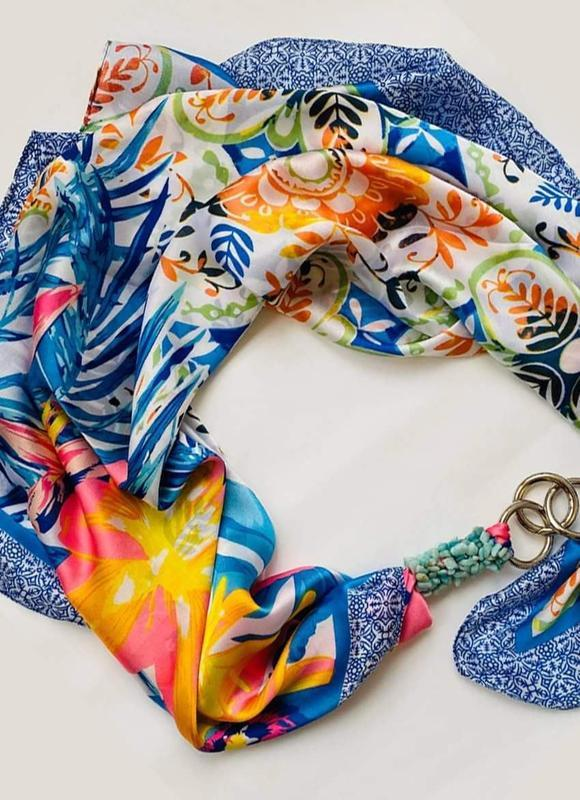 """Шелковый платок """"Райский остров"""" My scarf, шейный платок, подарок женщине"""