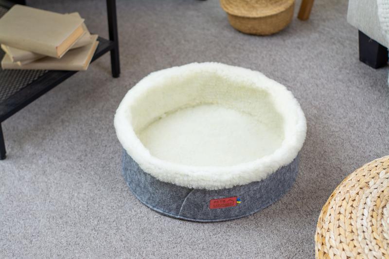 Лежак для собак и кошек из войлока Pets Lounge Круг серый, 45 см