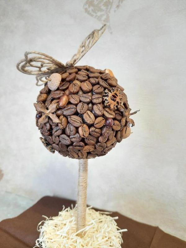 Кофейное дерево и джутовая филигрань. Декор. Подарок.