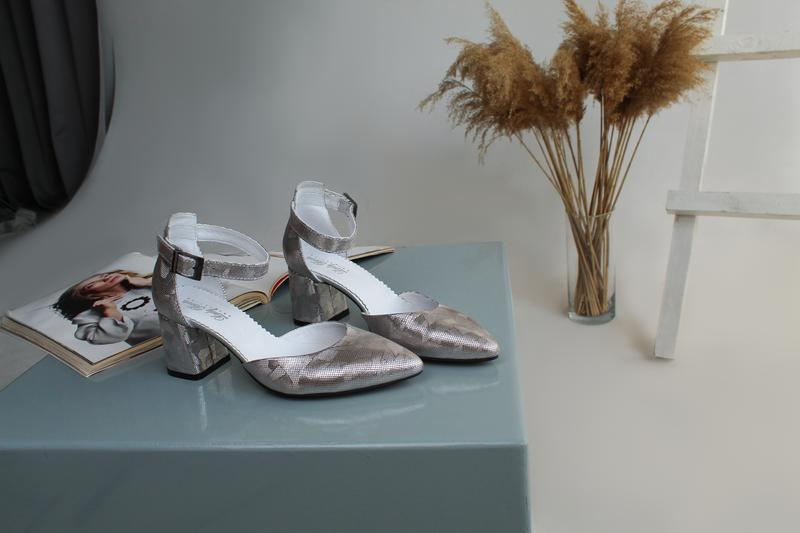 Женские кожаные серебряные туфли, с 36 по 41 размер